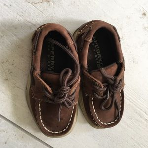 Brown Sperry 7.5 M toddler shoes